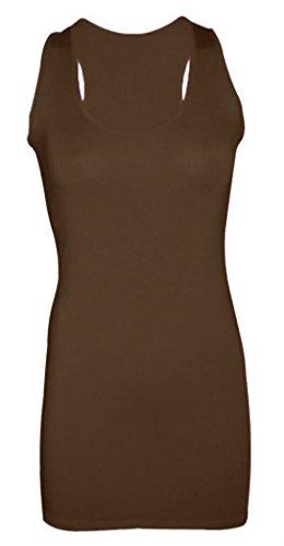 Dames Dames Plain Mouwloos Racer Spier Terug Bodycon Vest Lange Top (UK 8-10) Bruin