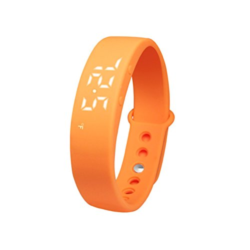 PIXNOR W5 Intelligente LED-Armband (Pedometer, Thermometer, Schlaf-Monitor, Vibrationsalarm) - Orange