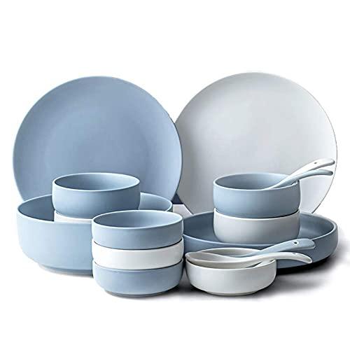 HKX Juego de Platos/Plato/Cuenco, Juego de vajilla de 16 Piezas, Juegos de vajilla Blancos y Azules, Servicio para 4, diseño escandinavo, Apto para lavavajillas