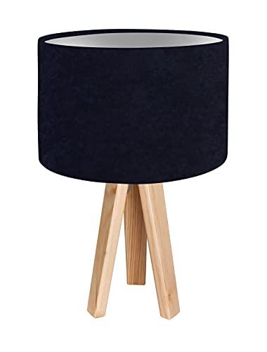 Lámpara de mesa de tres patas Selena azul oscuro, plata, madera, tela, 46 cm de alto