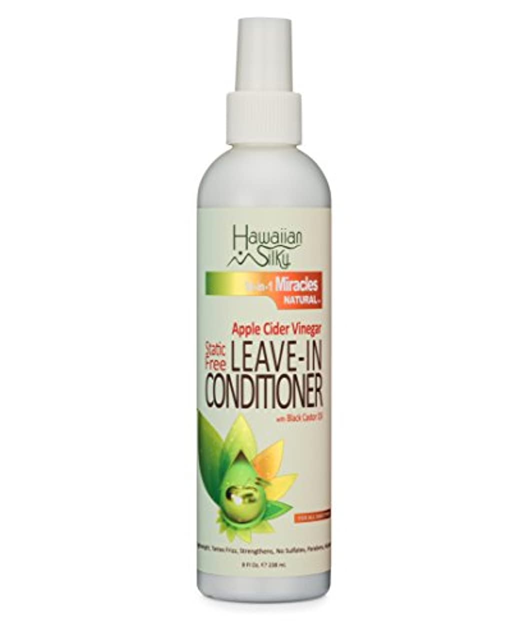 Hawaiian Silky Static-Free Apple Cider Vinegar Leave-in Conditioner, 8 fl oz - Black Castor Oil Extract for Hair Growth - 100% Natural Treatment Men, Women & Kids - Good on Color Treated Scalp