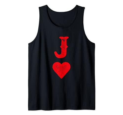 Disfraz para parejas de naipes Heart Joker Skat Poker Camiseta sin Mangas