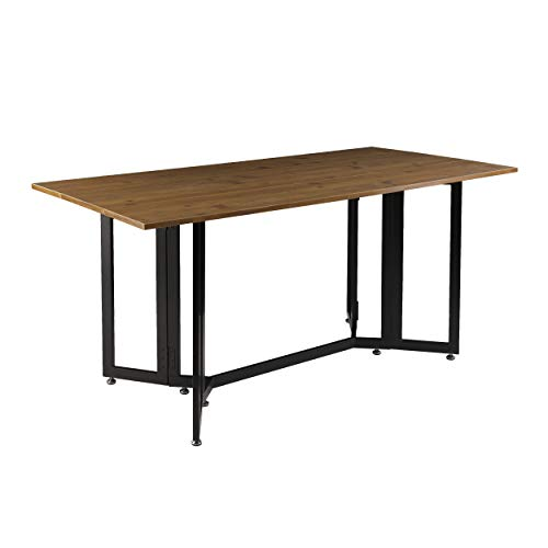 SEI Furniture Driness Drop Leaf Console to Dining Convertible Table, 63 W x 31 5 L x 29 5 H, Weathered Oak, Black