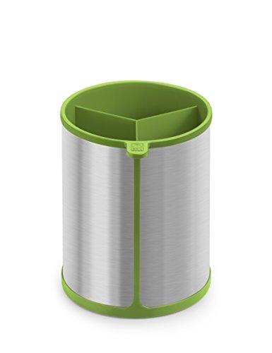 BRA Prior Bote Giratorio para Utensilios de Cocina Apto para el Contacto con los Alimentos, Acero INOX, Nailon y Silicona, Verde, 14.5 x 15 x 18 cm