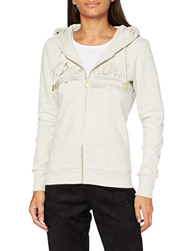 Superdry Womens VL Tonal EMB Ziphood Cardigan Sweater, Queen Marl, S (Herstellergröße:10)