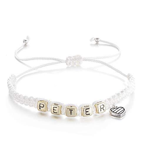 WHFDRHSZ Bangle Armband Armbanden Voor Vrouwen Mannen Kleine Liefde Hart Letter Kralen Naam Armband Lovers Sieraden
