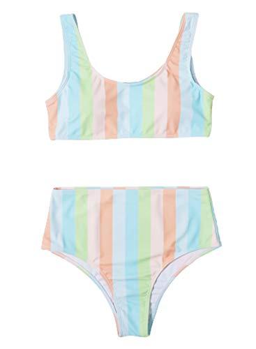 CORAFRITZ Traje de baño de 2 piezas para mujer sexy a rayas bloque de color traje de baño cuello redondo acolchado inalámbrico traje de baño de cintura alta conjuntos de bikini para mujer