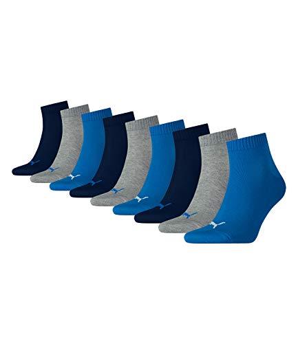 PUMA unisex Quarter Sportsocken Kurzsocken Socken 271080001 9 Paar, Farbe:Mehrfarbig, Menge:9 Paar (3x 3er Pack), Größe:39-42, Artikel:271080001-277 blue/grey melange