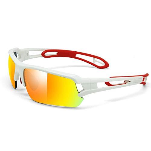Huayuan Gafas de Sol con Lentes Intercambiables para Hombre Mujer PC Marco Irrompible para Ciclismo Correr Pesca Golf Gafas de Béisbol Golf Gafas de Béisbol-Cristal blanco