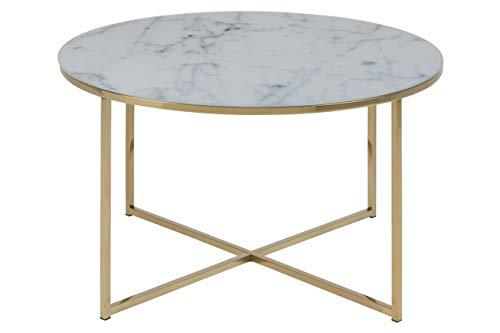 color blanco AC Design Furniture 49008 Michel Mesa auxiliar con base de madera y tapa de cristal