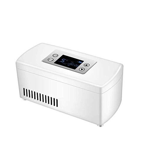 OMKMNOE Medicina Refrigeradora Refrigerador para Automóvil Viaje A Domicilio, Caja Fría para Insulina Portátil Pantalla LCD Recargable 2-8 ℃ Coche Refrigerador De Insulina Mini Refrigerador,Blanco