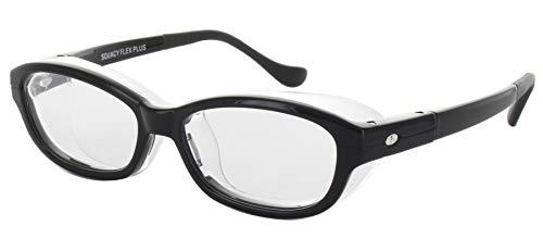 名古屋眼鏡 花粉メガネ 目立たない 曇らない おしゃれ スカッシー フレックスプラス ブラック S (NEW 曇り止めコート仕様) 8836-01