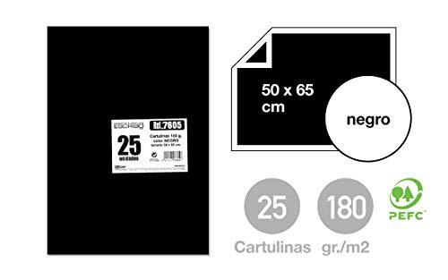 25 Cartulinas Grandes Color NEGRO - Tamaño Medidas 50 x 65 cm - Para Pintar y Todo tipo de Manualidades