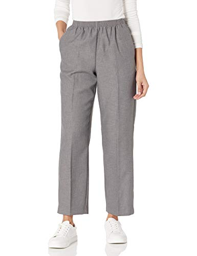 Alfred Dunner Women's All Around Elastic Waist Polyester Pants Poly Proportioned Medium, Grey, 16 Petite