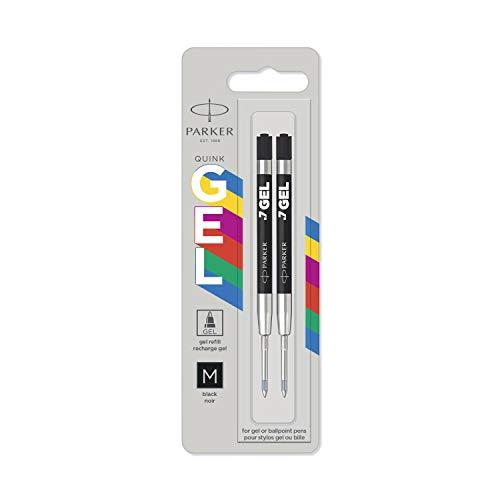 Parker Jotter Originals recharges pour stylo à encre gel | Recharges d'encre gel noir | pointe moyenne (0,7mm) | lot de 2