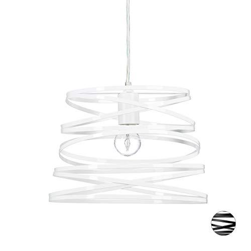 Relaxdays Hängelampe Ringe weiß, außergewöhnlich moderner Look, Deko fürs Esszimmer, 1 m lang, Deckenlampe, E27, white