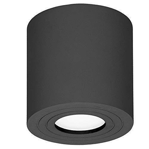 Orno Megy Lampara de Techo Redonda GU10 IP54 Impermeable 50W Max (Bombilla vendida por separado) (Negro)