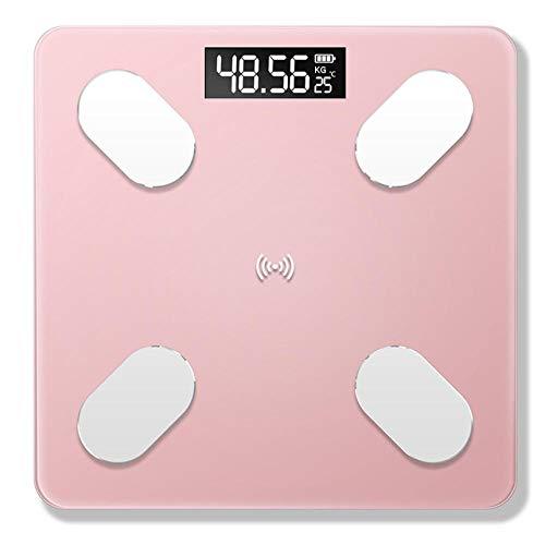 PRWJH Balances de salle de bains intelligentes, échelle de poids électronique de graisse corporelle, échelle de santé de mesures de haute précision, 180Kg, rose