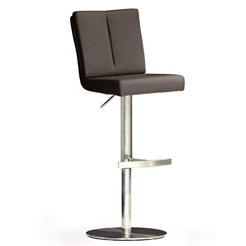Robas Lund BRU.NI Chaise de bar/Tabouret de bar, PU/Inox, rond/tournable 360°, environ 42 x 89-114 x 53 cm, marron