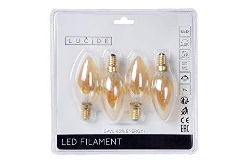 Lucide LED Bulb - Glühfadenlampe - LED Dim. - E14 - 4x3W 2200K - Amber - Set von 4