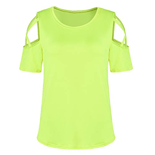 U/A T-Shirt Solid Color Casual Taille Show Thin Hole Schulter Schnürung T-Shirt für Frauen Gr. M, gelb
