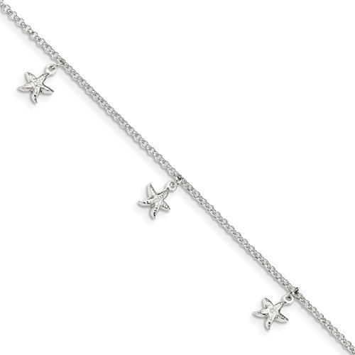 Ryan Jonathan Fine Jewelry Sterling Silver Starfish Dangles Anklet Chain, 9' +1' Extender