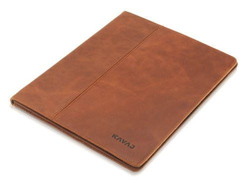 KAVAJ leather case cover 'Berlin' for the new Apple iPad 4, iPad 3 and iPad 2 cognac brown - genuine leather with stand-up feature