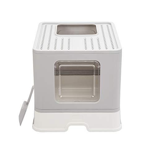 Vealind Bandeja de arena plegable para gatos con entrada frontal y salida superior, tamaño XXL, cajas de inodoro con bandejas, tapa y pala de arena para mascotas (gris)