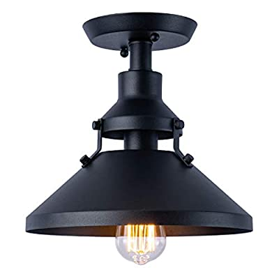 Industrial Close to Ceiling Lights,Vintage Matte Black Shade Metal Ceiling Light,Ceiling Lamp Fixture for Foyer Kitchen Hallway Stairway Restaurants,10in,1 Pack