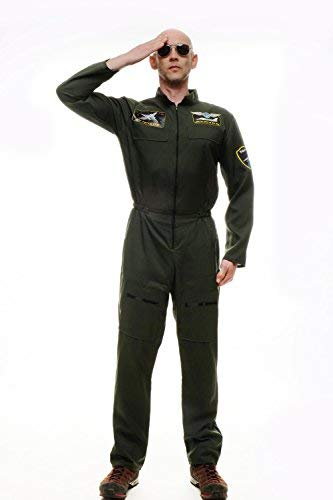 dressmeup Dress ME UP - Disfraz para Hombre piloto aviación Militar Mono Overall Airforce M-052