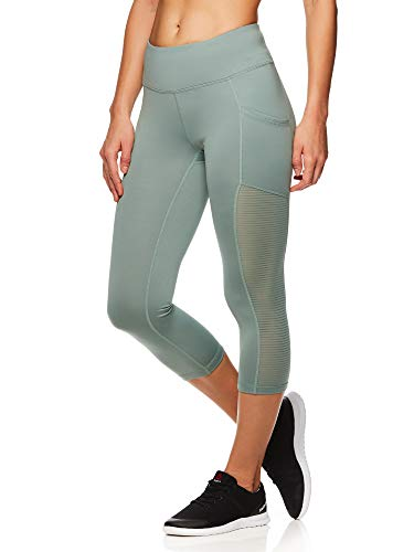 Reebok Women's Printed Capri Leggings with Mid-Rise Waist Cropped Performance Compression Tights - Chinois, Medium