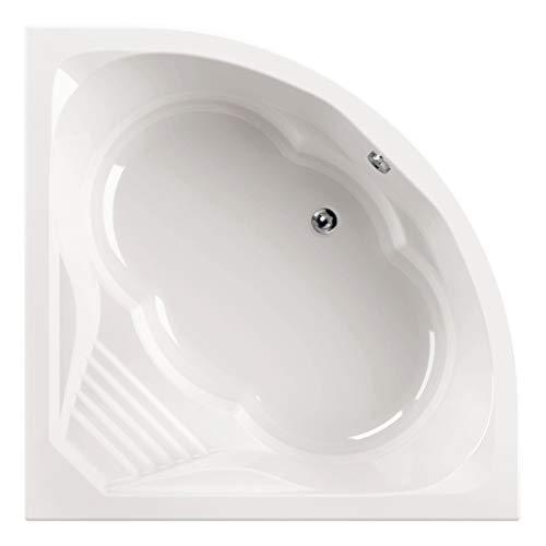 Calmwaters® Eckbadewanne 150x150 cm mit Sitz, Acrylwanne Curved Wellness, Duo-Badewanne für zwei Personen, Sitzbadewanne, Maße 150 x 150 cm, Eck-Badewanne in Weiß - 02SL3015