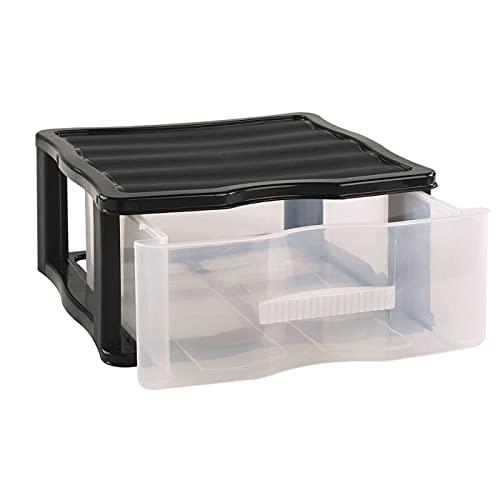 Cajonera Wagon de plástico Negro 1 cajón Transparente 17 x 37 x 39,3 cm. Contenedor de plástico para Folios Especial para Oficina u hogar. Utensilio de ordenación para Distintos ámbitos.