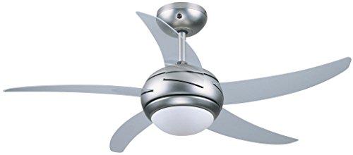 Ventilatore da soffitto con luce e telecomando Vinco 70911 silver con pala trasparente rotazione reversibile estate/inverno 3 velocità potenza max 65W