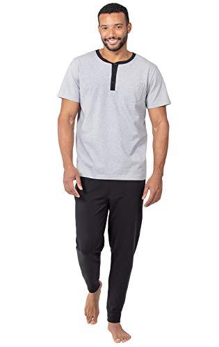 PajamaGram Mens Pajamas Soft Cotton - Ringer Tee Pajama Set for Men, Black, XL