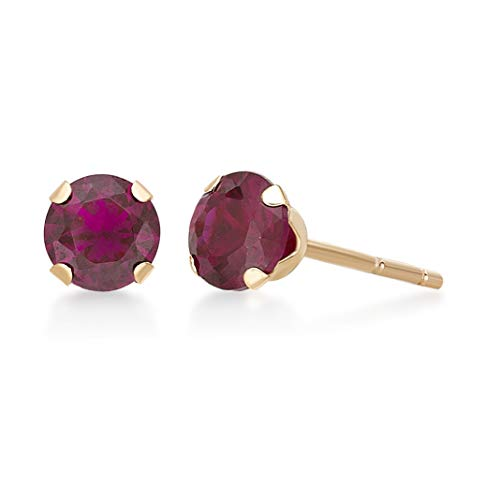 10K Yellow Gold Round Created Ruby Earrings - 4mm - Women's Birthstone Gift