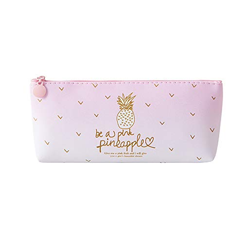 Ouniman Pink Pineapple Pencil Bag Case,Cute Multifunction Cosmetic Bag Makeup Pouch Storage High Capacity Stationery Holder Box Organizer Purse Bag for School,Home,Girls,Students,Adults (A(1pcs))