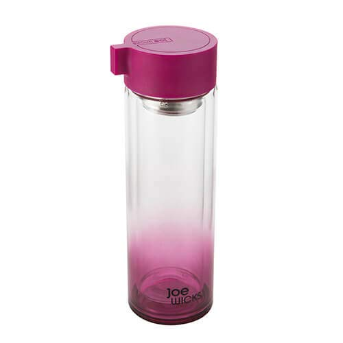 Joe Wicks - Hydration - 350 ml Water Bottle - Crystal Glass - Tea/Fruit Infuser - BPA Free - Dishwasher Safe - Hot/Cold - Purple