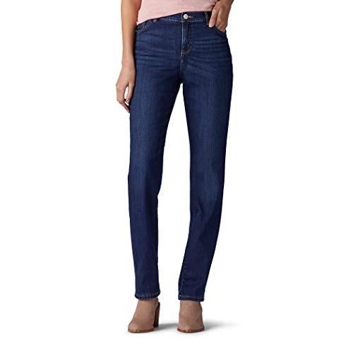 Lee Instantly Slims Classic Relaxed Fit Monroe Straight Leg Jean Jeans, Ellis Azul, 48 Corto para Mujer