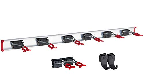 Gerätehalter Schiene 100 cm mit 8 Haltern + 2 Haken extra für Garten Geräte Werkstatt Besen, Bruns