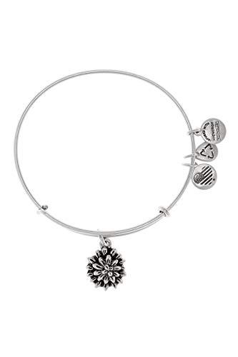 Alex and Ani Water Lily Charm Expandable Bangle Bar Bracelet