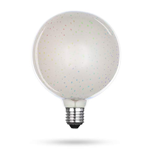 Xqlite LSO-04101 LED-Leuchtmittel mit 3D-Feuerwerk-Effekt als Dekorationsbeleuchtung, Glas, E27, 3.5 W, Transparent, 17.2 x 12.8 x 12.8 cm