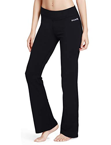 "BALEAF Women's Bootcut Regular/Tall High Waisted 34"" Yoga Pants Bootleg Workout Jazz Pants Inner Pocket Black Size L"