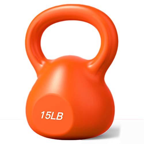 SKK Capacitación Antideslizante Pesas Mancuernas Pesas Rusas de Mano for el Entrenamiento de Fuerza con código de Colores Pesas Mancuernas hervidor Bola 10/15 / 20LB Ejercicio (Color : Orange15LB)