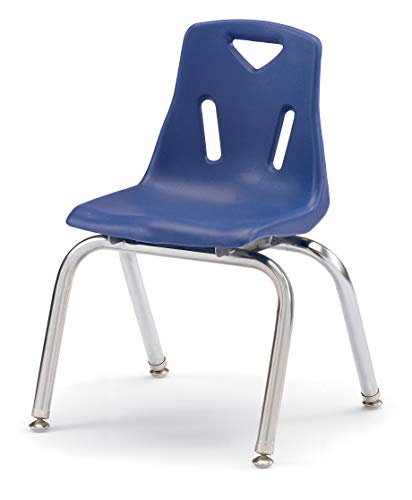 Jonti-Craft 8144JC1003 Berries Stacking Chair with Chrome-Plated Legs, 14' Height, Blue