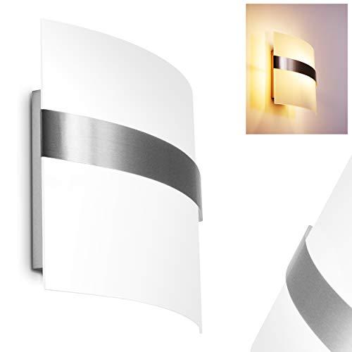Wandleuchte Avellino, Wandlampe aus Glas/Metall in Stahl gebürstet, Wandspot m. Up&Down-Effekt, 1-flammig, 1 x E27 max. 60 Watt, Wandstrahler m. Lichteffekt, LED geeignet