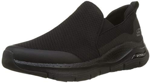 Skechers Arch Fit, Zapatillas sin cordones Hombre, Azul (Black Mesh/Black Synthetic/Trim Bbk), 41 EU