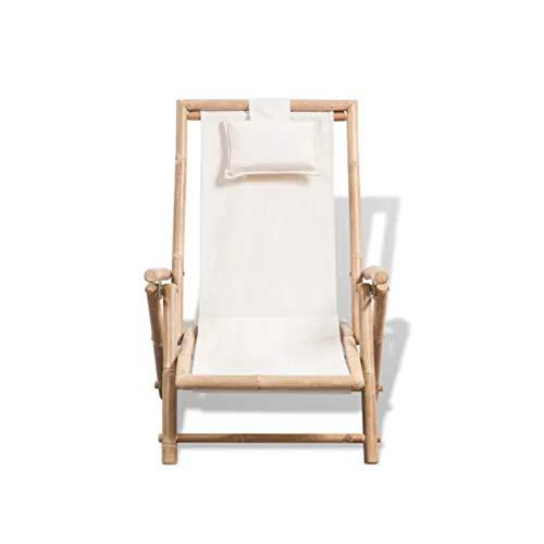 Wakects Silla de bambú para jardín, tumbona de bambú con 4 posiciones ajustables para patio de playa