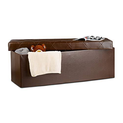Relaxdays Baúl Almacenamiento Plegable con 2 Compartimentos, Piel Sintética, Marrón, 38 X 114 X 38 Cm