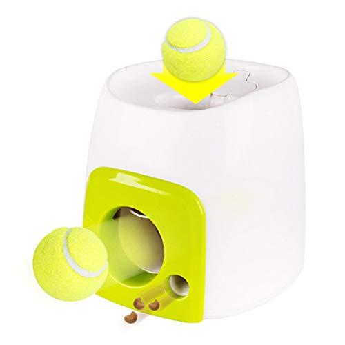 Camidy - Lanzador de pelotas de tenis interactivo para perro, máquina de lanzar bolas con alimentador automático para mascotas para pelotas de perro y entrenamiento de alimentación